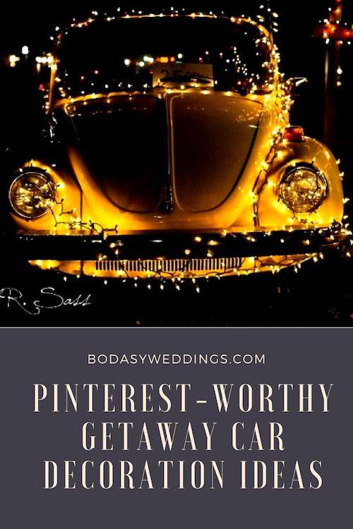 Grab some string lights and wrap the wedding getaway car with them! Sahra Sadd Photo.