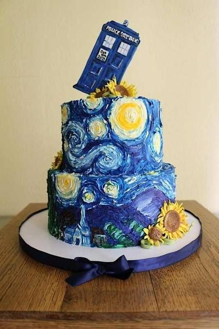A Van Gogh & Doctor Who groom's cake that merges two of his interests.
