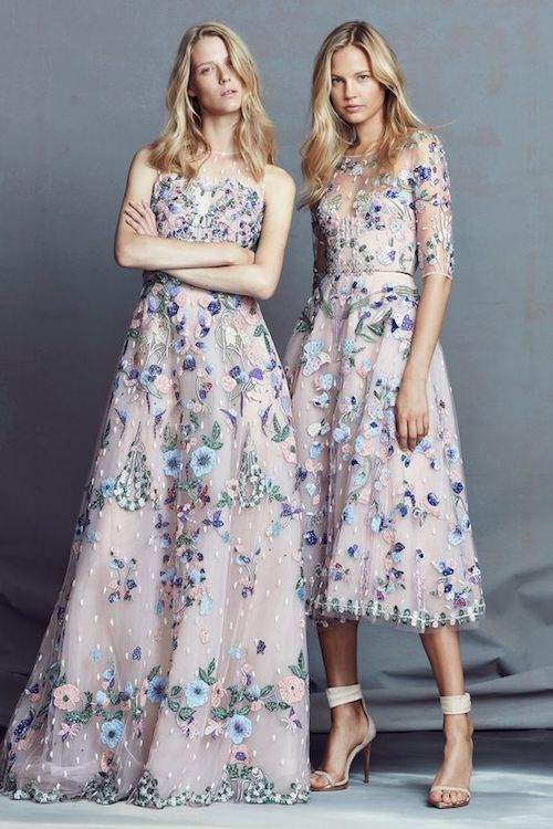 Get inspired by the Zuahir Murad resort collection for your bridesmaid dresses. Delicate floral layer over lilac.