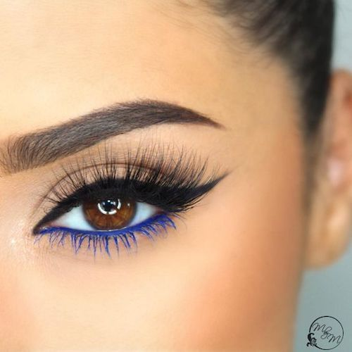 The blue liner and lash mascara balances the black upper lid liner beautifully.