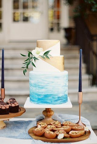 Perfect for a beach wedding hand painted and gold. The trend for next year is all about mixing trends.