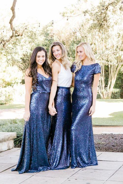 Mismatched blue sequin bridesmaid dresses.