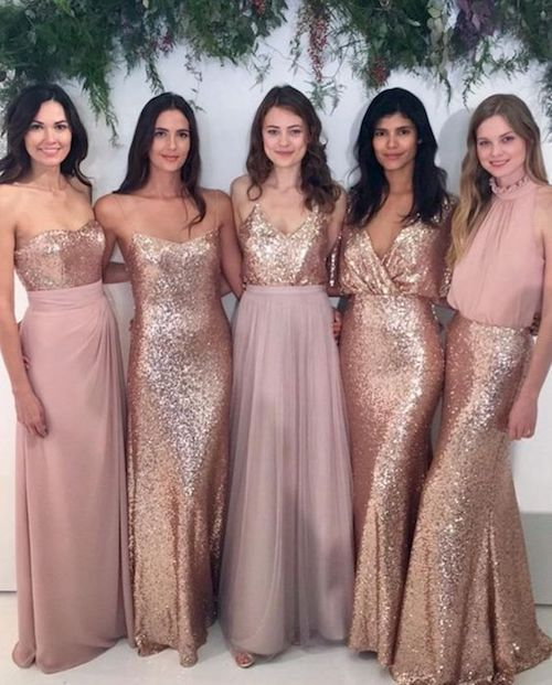 Blush sequined convertible sheath one shoulder bridesmaid dresses from MissZhu Bridal. Ultra glam.