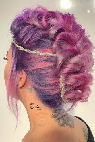 Stylish braided hairstyle for short hair.