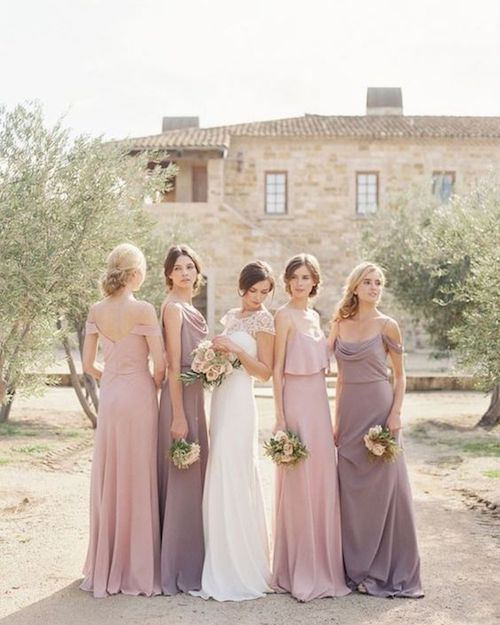 The bridesmaid dress etiquette and this year's trends. We love these colors and styles as they are so versatile they will look beautiful both at outdoor and indoor weddings. Dresses by Jenny Yoo.