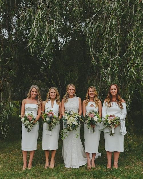 Every bridesmaid dress has a different style. That way when they get together again they can still wear them, minus the flower bouquets, of course!