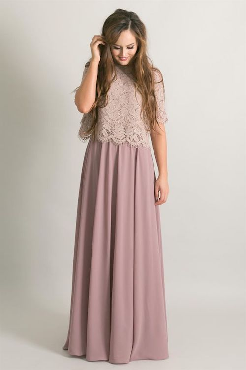 Gorgeous bridesmaid lace top and chiffon maxi skirt by jane.