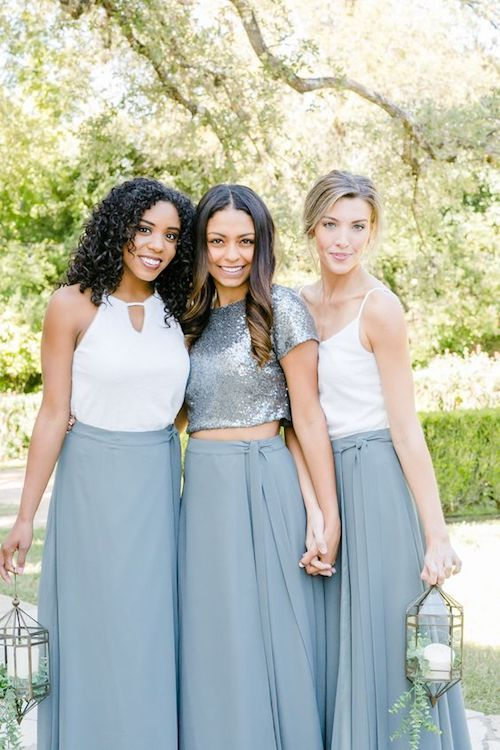 It's all about picking a matching long eucalyptus chiffon skirt and separates with some sparkly sequin options. Bridesmaid outfits by revelry.