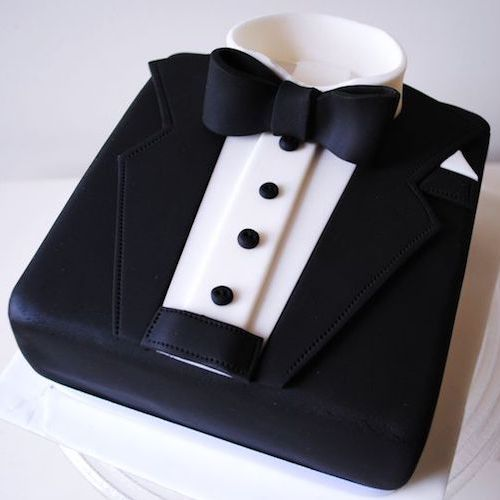 Perfect cake for the dapper groom by misscupcakes.
