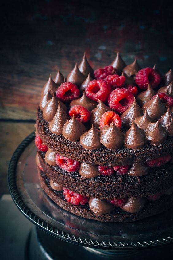 Rich chocolate fudge frosting and fresh raspberries cake. Sir, may i have some more? By sugaretal.