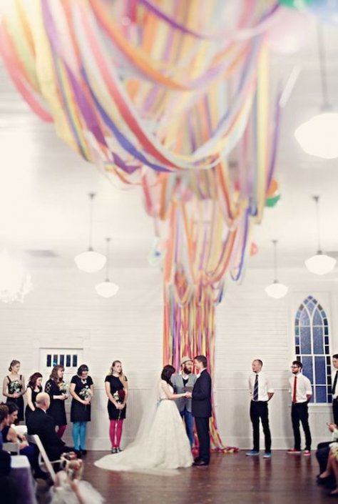 Go big or go home. DIY the best chiffon fabric ceremony backdrop ever!