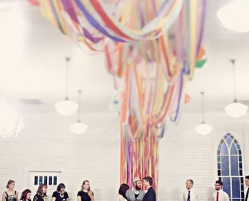 Go big or go home. DIY the best chiffon fabric ceremony backdrop ever!