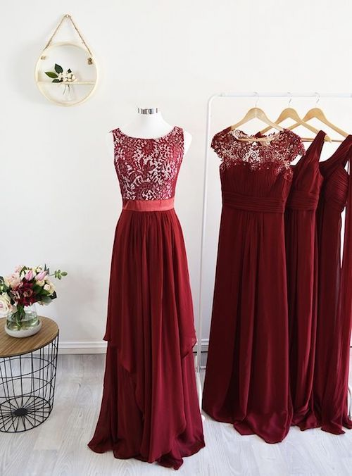 Looking for formal jewel tones like these red lace mix and match gowns for your bridesmaids? Check these out by modelchic.