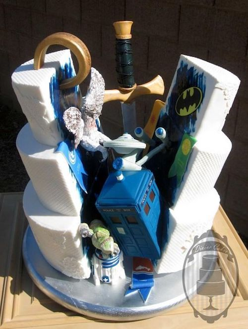 Gotham City, Dr. Who and all of his fav characters into one original groom's cake by Chrissie Boon.