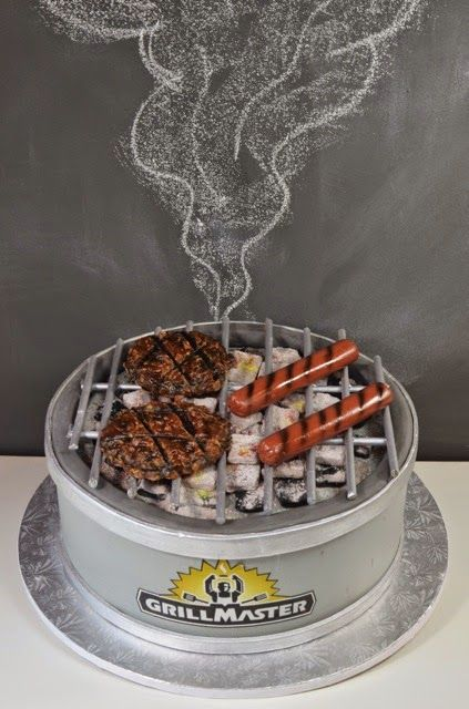 Yes, it's a cake! With mini marshmallows for coals. How creative can a groom's cake be? Confection by cupadeecakes.