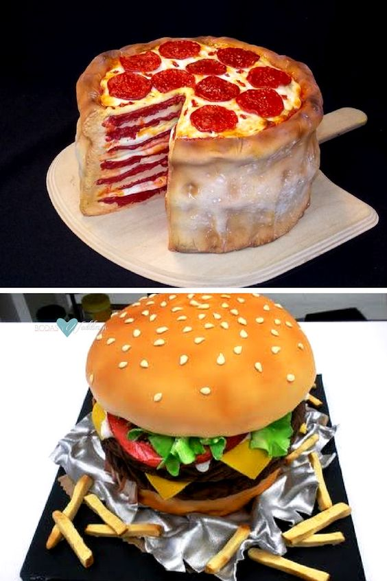Choose whatever flavor the groom loves for his cake: pizza or burgers!