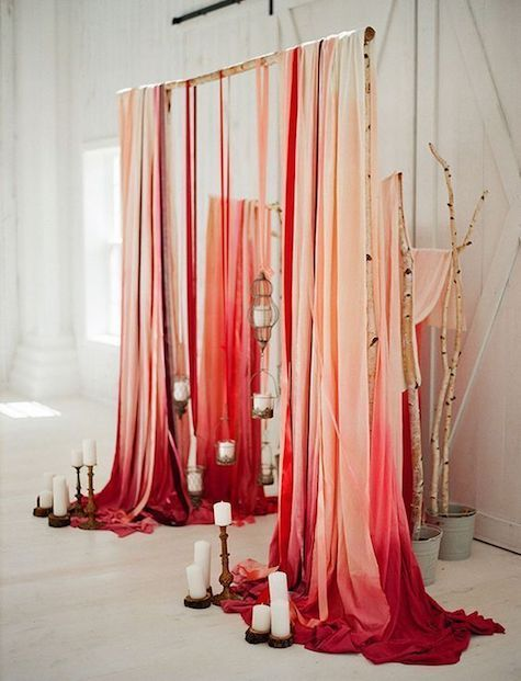 How to make a fabric backdrop: ombré fabric, wooden dowel and a glue gun!