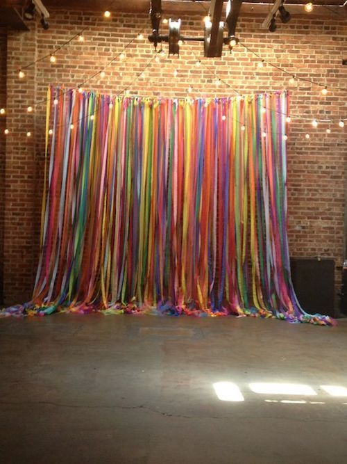 How to make a multi-color ribbon backdrop in minutes. ;)