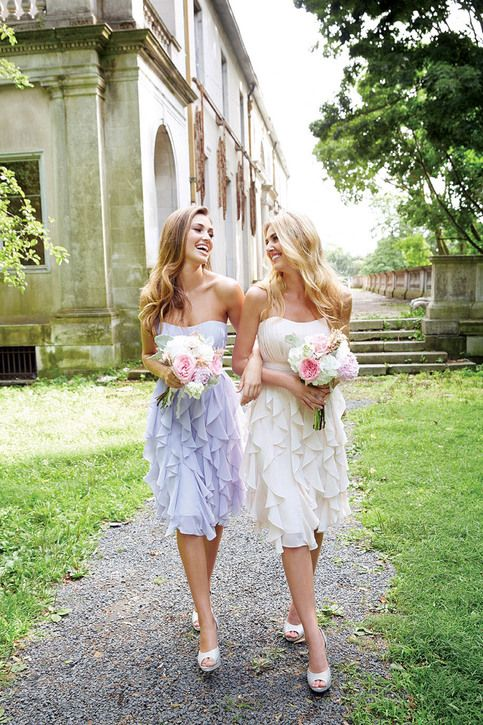 Two of the cutest knee-length bridesmaid dresses we have ever seen in ruffled chiffon.
