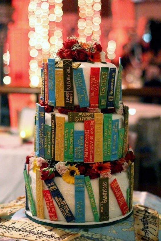 For the book lover in him a library cake.
