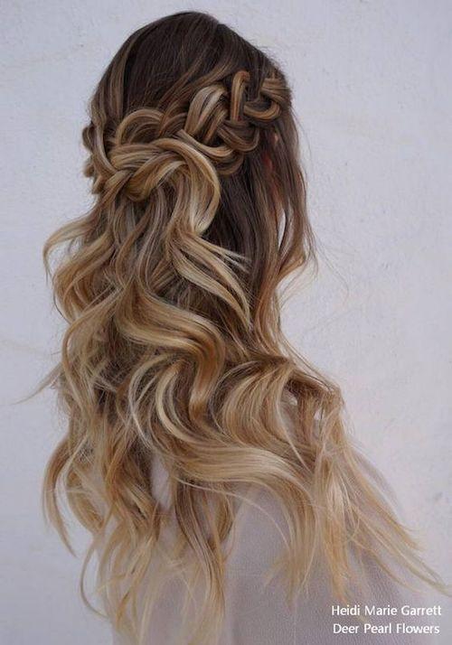Loose braid over a half up half down hairstyle from Heidi Marie Garrett via Deer Pearl Flowers.