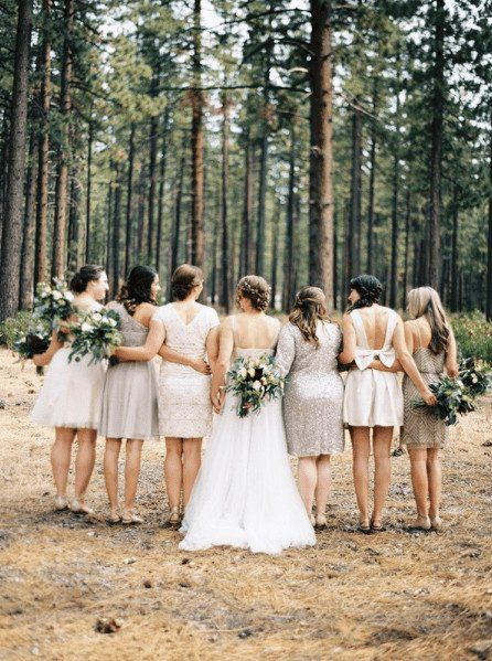 Mix-and-match your bridesmaid dresses by bringing them together with a neutral palette. Love these short dresses in different styles!