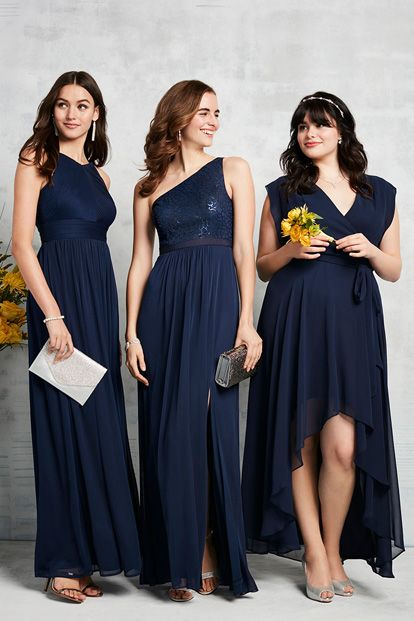 Loving the navy and that each bridesmaid can wear the style that best fits their body. David's Bridal.