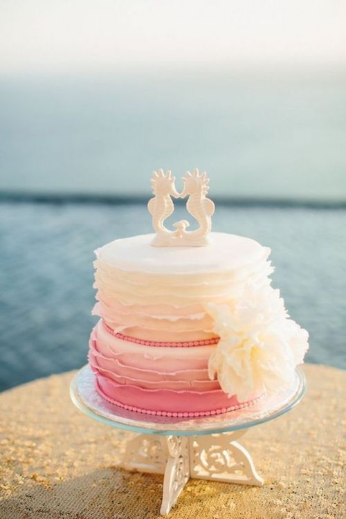 Ruffled ombre cake ideas for intimate destination weddings.