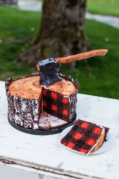 For the outdoorsy groom, one of the most creative cakes i have ever seen.