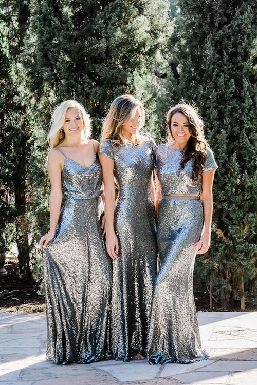Dare to go all 2019 with these silver sequin bridesmaid dresses!