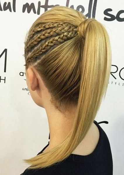 Chic and modern high ponytail with three miniature french braids. Trendsetting hairstyles for wedding guests or brides.