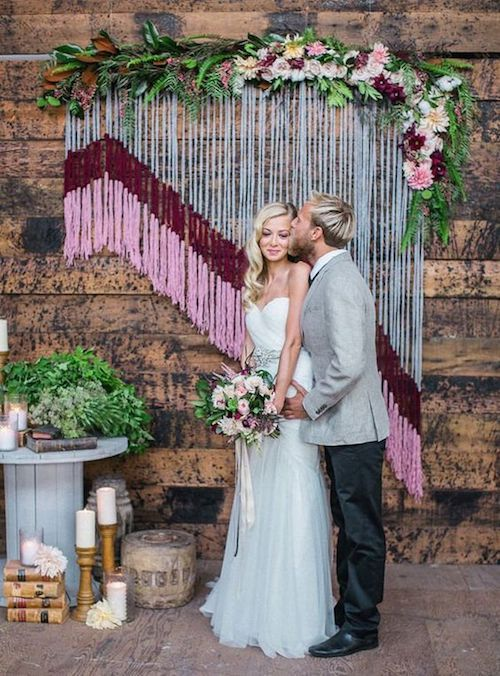 Perfect your aesthetic with a wedding backdrop you will be glad to remember over the years. Yarn backdrop.