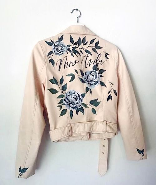 Super lit chaqueta pintada a mano de Bash Calligraphy.