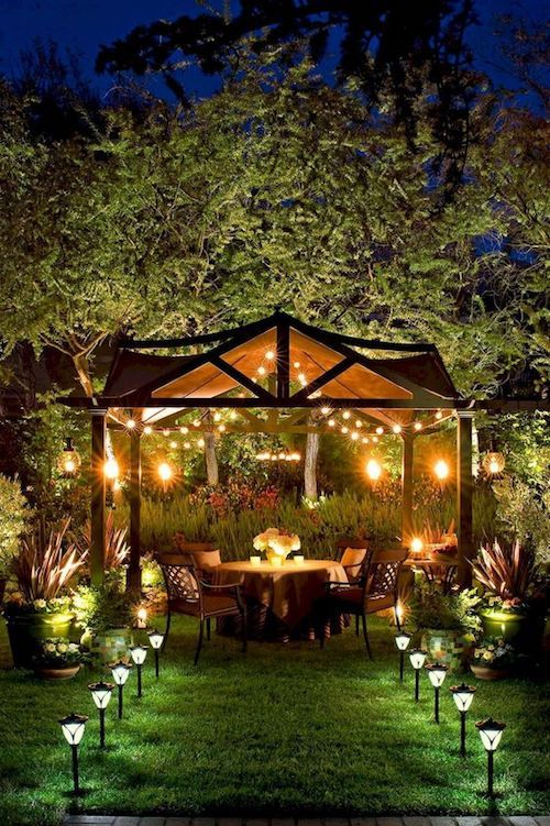 If you are lucky enough to have a gazebo, add a small table and light it up for your backyard wedding.