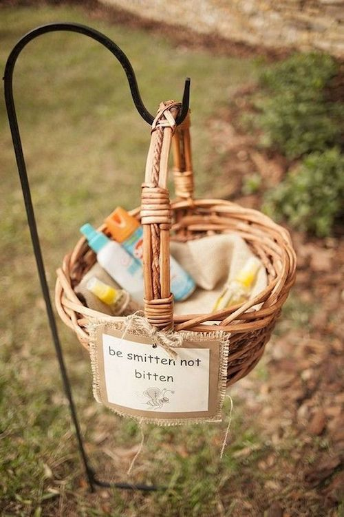 A simple hanging basket for your guests to help themselves to some bug spray.