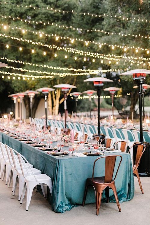 Keep your guests warm with lamp heaters. Your backyard will look stunning.