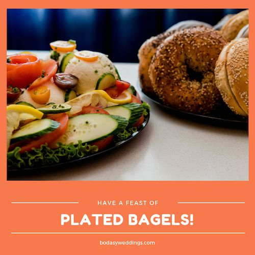 Your bridesmaids can score big time if they have some plated bagels ready for you and your better half. Wedding night ideas that are a must.