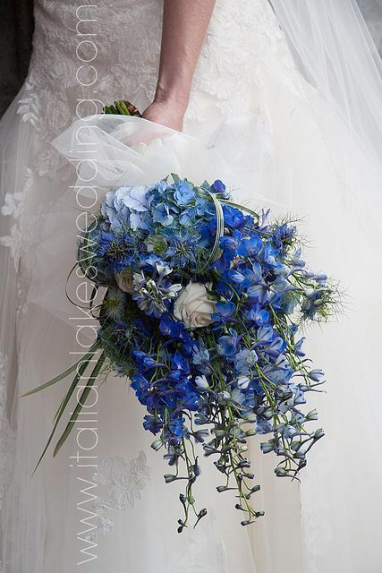 Ramo de novia con hortensias, lobelias y delphiniums azules, rosas blancas atadas con un lazo blanco y tul. Diseñado por La Piccola Selva en Lake Orta, Italia.