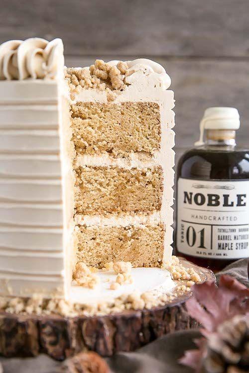 Azúcar morena, maple syrup y licor de maple para una inolvidable torta para bodas en otoño de livforcake.