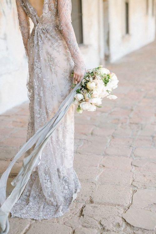 Silvery beaded Gossamer gown. California wedding.