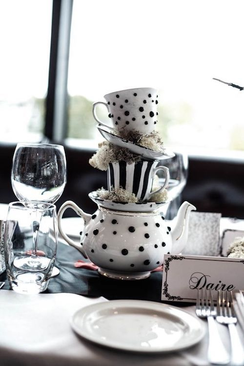 This Alice in Wonderland centerpiece is also ideal for a bridal shower or any tea party really. Photo: carolinemcnally.