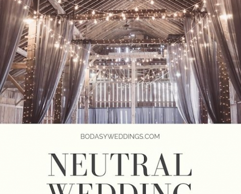 String lights and gray curtains for a magical barn wedding. Photo: Shelly Pence/BYW @shellbell130