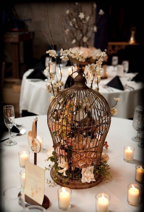 Nothing says vintage like a birdcage centerpiece.