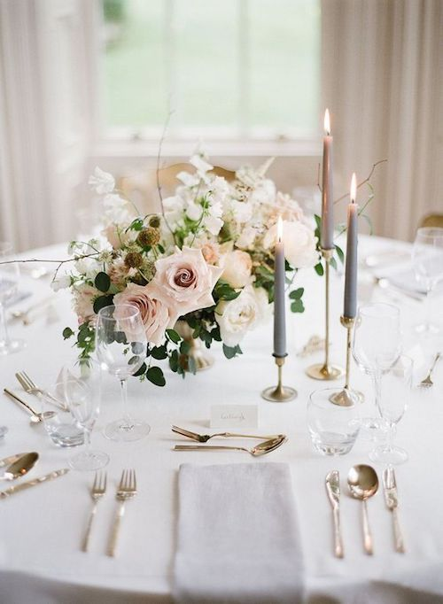 Blush and gray wedding a color combination that spells elegance at this intimate wedding. Photo: Taylor & Porter.