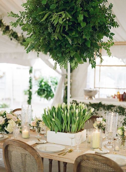 Boxed tulips centerpiece. Photography: A. Bryan Photo.