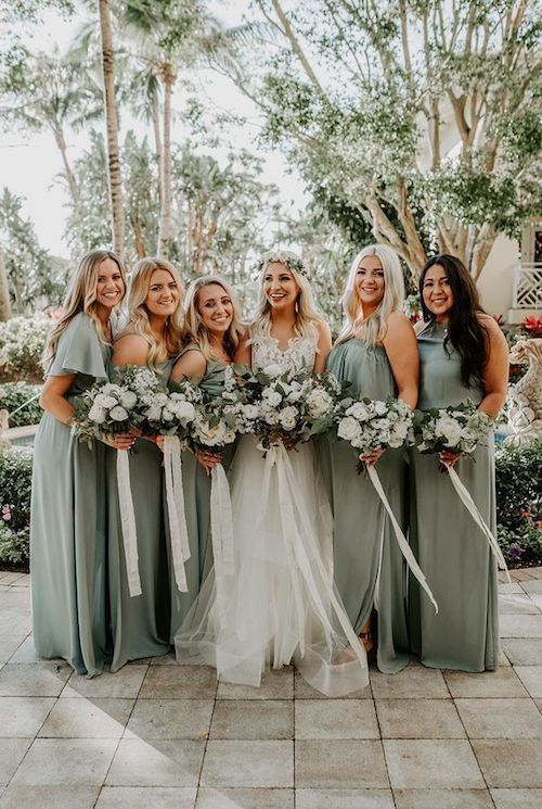 Loving this shade of greenish gray for the bridesmaids, and you?