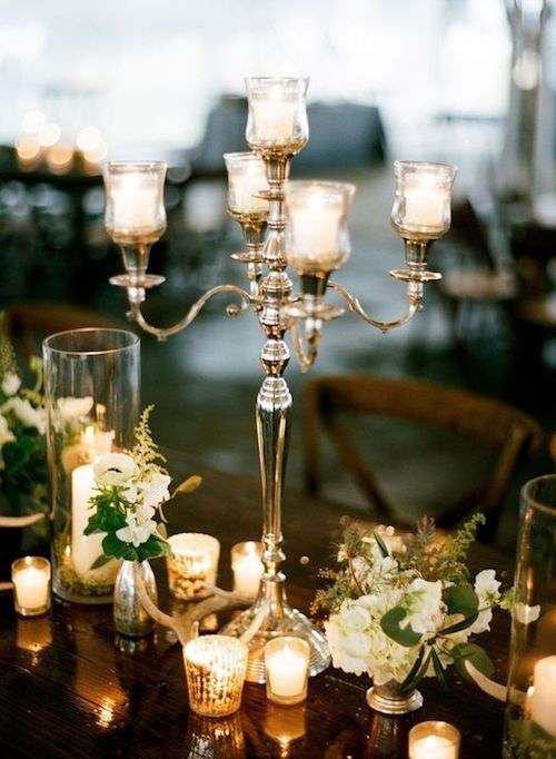 Elegant candelabra centerpiece for a wedding table.