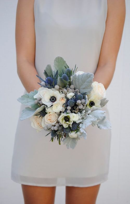 Dusty blue and gray anemone wedding flowers.