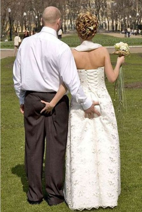 And the camera captures a butt check. Epic wedding day disasters.