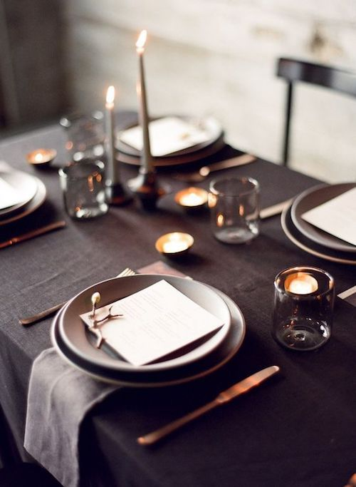 Glam up your table decor. Gray and black color palette. As simple as that.